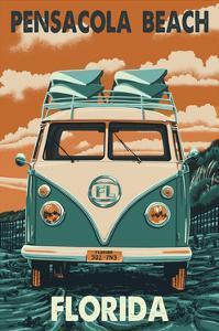 Pensacola Beach, Florida Letterpress by Lantern Press