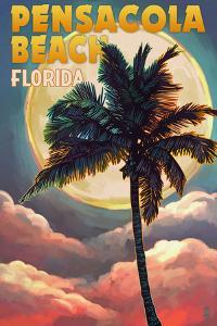 Pensacola Beach, Florida - Palm and Moon by Lantern Press