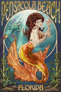 Pensacola, Florida - Mermaid by Lantern Press