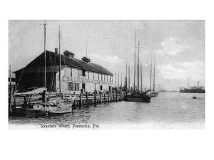 Pensacola, Florida - Saunders Wharf Scene by Lantern Press