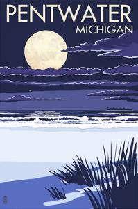Pentwater, Michigan - Full Moon Night Scene by Lantern Press