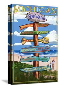 Pentwater, Michigan - Sign Destinations by Lantern Press