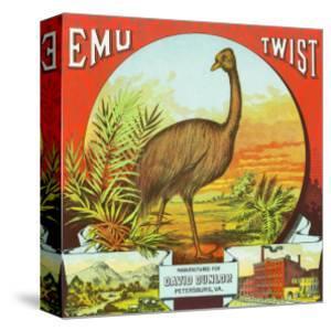 Petersburg, Virginia, Emu Twist Brand Tobacco Label by Lantern Press
