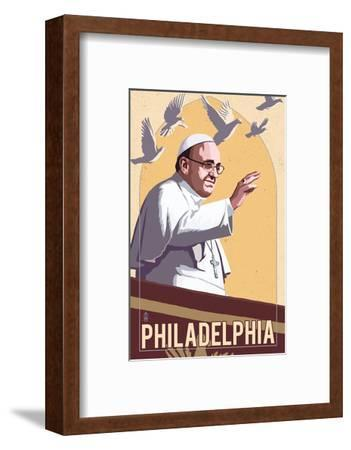 Philadelphia, Pennsylvania - Pope and Doves - Lithography Style