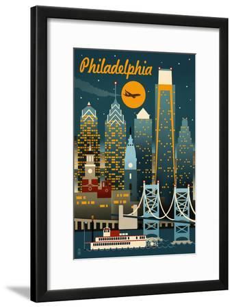 Philadelphia, Pennsylvania - Retro Skyline