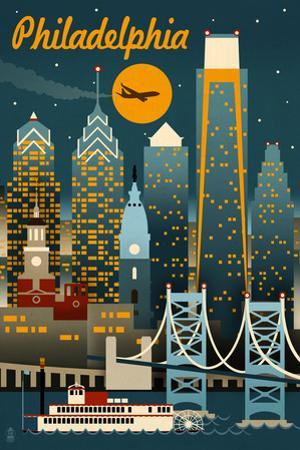 Philadelphia, Pennsylvania - Retro Skyline by Lantern Press