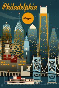 Philadelphia, Pennsylvania - Retro Skyline by Lantern Press