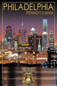 Philadelphia, Pennsylvania - Skyline at Night by Lantern Press
