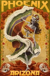 Phoenix, Arizona - Day of the Dead Dancing Skeleton by Lantern Press