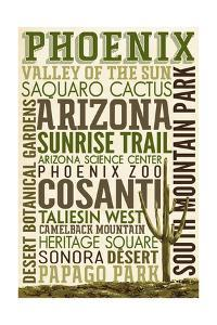 Phoenix, Arizona - Typography by Lantern Press