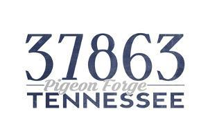 Pigeon Forge, Tennessee - 37863 Zip Code (Blue) by Lantern Press