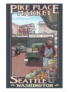 Pike Place Market, Seattle, Washington by Lantern Press