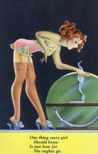 Pin-Up Girls - Girl in Nighty by a Globe; Every Girl Should Know How Far She Can Go by Lantern Press