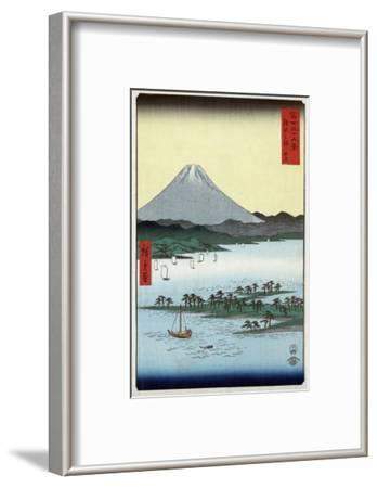 Pine Beach at Miho in Suruga with View of Mount Fuji, Japanese Wood-Cut Print