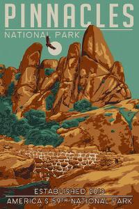 Pinnacles National Park - WPA Formations and Condor by Lantern Press
