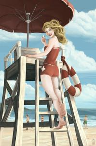 Pinup Girl Lifeguard by Lantern Press