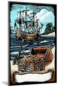 Pirates with Scroll - Scratchboard by Lantern Press