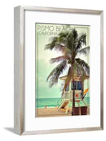 Pismo Beach, California - Lifeguard Shack and Palm