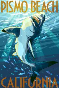 Pismo Beach, California - Stylized Sharks by Lantern Press