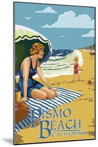 Pismo Beach, California - Woman and Beach Scene by Lantern Press