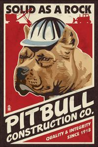 Pitbull - Retro Construction Company Ad by Lantern Press