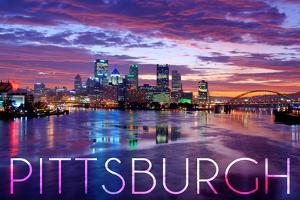 Pittsburgh, Pennsylvania - City Lights at Night by Lantern Press