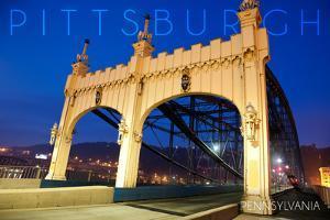 Pittsburgh, Pennsylvania - Old Bridge at Night by Lantern Press