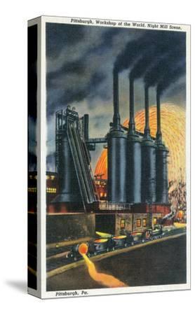 Pittsburgh, Pennsylvania - Steel Mill Scene at Night
