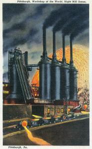 Pittsburgh, Pennsylvania - Steel Mill Scene at Night by Lantern Press