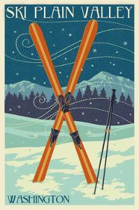 Plain Valley, Washington - Crossed Skis - Letterpress by Lantern Press