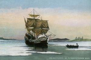 Plymouth, Massachusetts, Representation of the 1621 Mayflower Landing by Lantern Press
