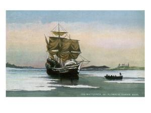 Plymouth, Massachusetts, Representation of the 1621 Mayflower Landing by Lantern Press