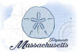 Plymouth, Massachusetts - Sand Dollar - Blue - Coastal Icon by Lantern Press
