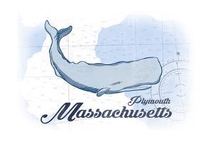 Plymouth, Massachusetts - Whale - Blue - Coastal Icon by Lantern Press