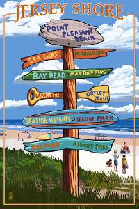 Point Pleasant Beach, New Jersey - Destinations Signpost by Lantern Press