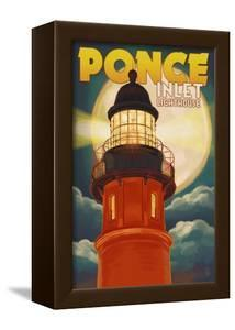 Ponce De Leon Inlet, Florida - Lighthouse and Moon by Lantern Press