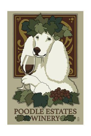 Poodle - Retro Winery Ad by Lantern Press