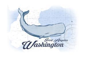 Port Angeles, Washington - Whale - Blue - Coastal Icon by Lantern Press