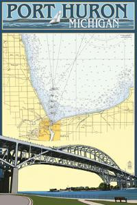Port Huron, Michigan - Nautical Chart by Lantern Press