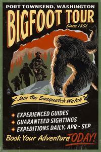 Port Townsend, Washington - Bigfoot Tours - Vintage Sign by Lantern Press