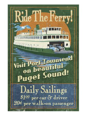 Port Townsend, Washington - Ferry by Lantern Press