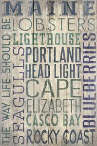 Portland Head Lighthouse, Maine - Barnwood Typography by Lantern Press