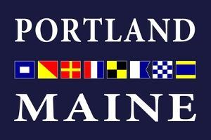 Portland, Maine - Nautical Flags by Lantern Press