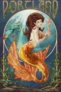 Portland - Mermaid by Lantern Press