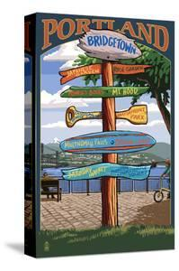 Portland, Oregon Destinations Sign - Powell's Books by Lantern Press