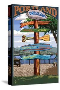 Portland, Oregon Destinations Sign by Lantern Press
