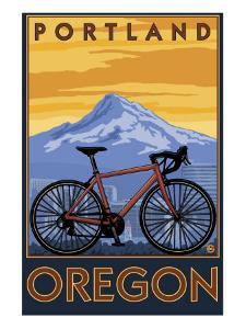 Portland, Oregon, Mountain Bike Scene by Lantern Press