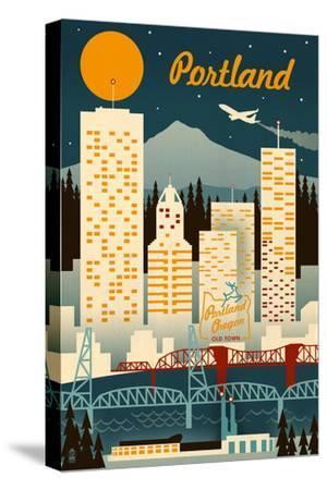 Portland, Oregon - Retro Skyline