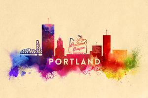 Portland, Oregon - Skyline Abstract by Lantern Press