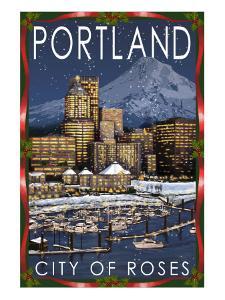 Portland, Oregon - Skyline at Night - Christmas Version by Lantern Press